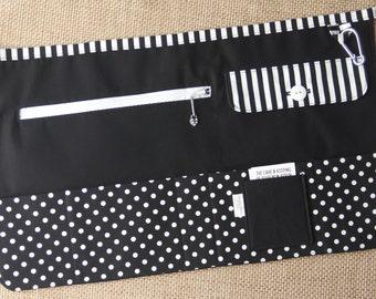 Vendor Apron, Utility Apron, Teacher Apron - Black with White Dots and Stripes - Ready to Ship