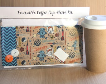 DIY Coffee Cup Sleeve Sewing Kit - Rockets, Robots and Chevrons - Ready to Ship