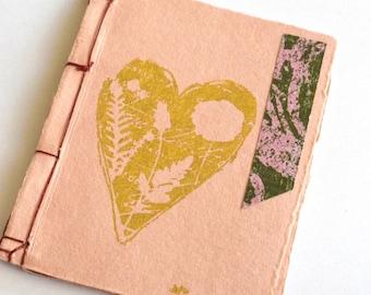 Japanese Stab Stitch Notebook, Pink and Gold Pocket Notebook, Kangxi Notebook