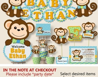Boy Monkey Baby Shower Decorations, Monkey First Birthday Party - Invitation, Favor, Banner, Cake Topper, blue, green, orange