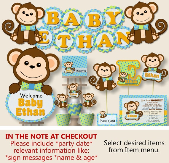 boy monkey baby shower decorations monkey first birthday party