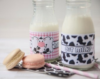 Cow Water Bottle Labels, Cow Party Favors, Cow Party Decor, Girls Cow Themed Party, Cow Drink Labels, Cow Birthday, Cow Party Favors