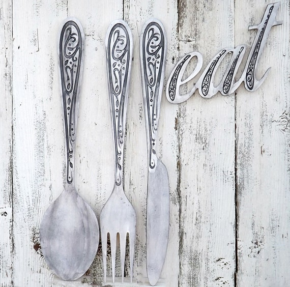 Large Knife Fork And Spoon Wall Decor : Fork and spoon knife wall decorlarge wood