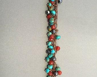 Turquoise, Carnelian and Hematite bracelet