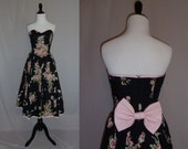 80s Strapless Dress - Black Floral - Big Pink Bow - Full Skirt - Party Dress - Vintage 1980s - S