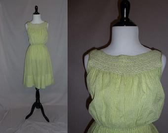 50s Green Check Dress - White Smocked Neckline - Summer Sundress - Vintage 1950s - S
