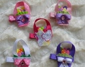 Easter Basket Hair Clip- Ribbon art- Ribbon Sculpture- Ready to ship- Easter Hair Bow- Easter- Hair Clip- Hair Bow