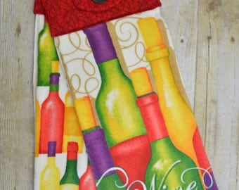 Set of Two Handmade Hanging Kitchen Towels, Wine, Kitchen Towels, Hanging Towels, Bathroom Towels