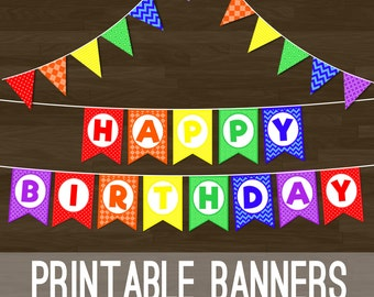 Printable Rainbow Bunting - Rainbow Flag Banner and Happy Birthday Banner for Birthday Party