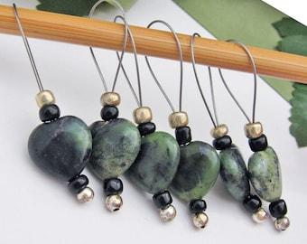Stitch Markers, Knitting, Kambaba Jasper, Green Hearts, Semi-Precious Stones, Snag Free, Knitters Gift, Jeweled Tool, Knitting Accessory