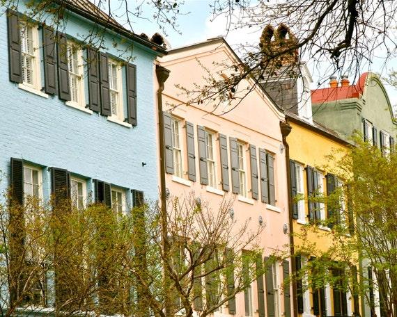 Charleston Decor.  Charleston Art Rainbow Row Print Southern Decor Historic Architecture Photography Colorful Home South Carolina Travel and by Vita