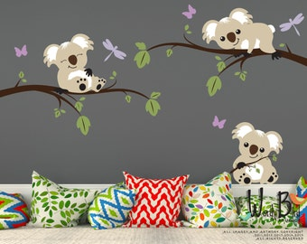 Koala bears and branches reusable peel and stick kids wall decals - nursery wall mural