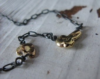 14K Gold Nugget Necklace Gold Pebble Necklace Gold Pendant Black Oxidized Necklace Organic Necklace OOAK Necklace Artisan Necklace Rustic