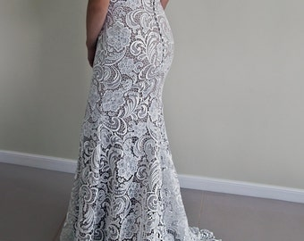 Brussels Lace Wedding Dress, V Back, Scoop Neckline, Lace Wedding Dress, Trumpet Wedding Dress