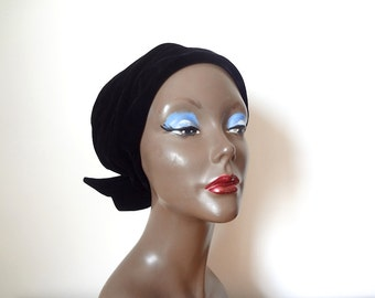 1950s Black Velvet Hat - vintage snood style turban - midcentury cloche