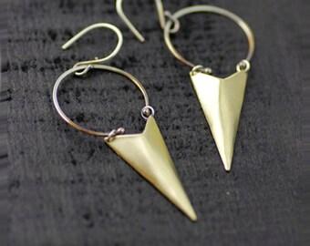 "READY TO SHIP chandelier earrings - brass and silver ""charred triangles""  dangle earrings - handmade in seattle by lolide"