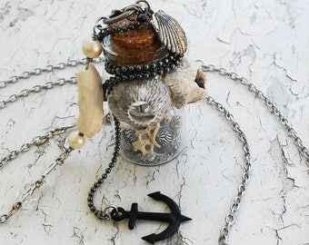 Deep Sea Ocean Bottle Barnackles Anchor Glass Orb Shells Silver Sand Silver Tone Jewelry Necklace
