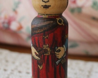 """Wood Peg Doll Prince (red tunic) - watercolored large size 3.5"""""""