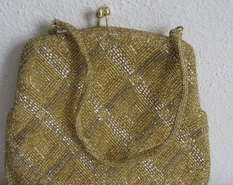 Gold and Silver Beaded Vintage Evening Bag with Hideaway Handle Old Hollywood Glam Style!!