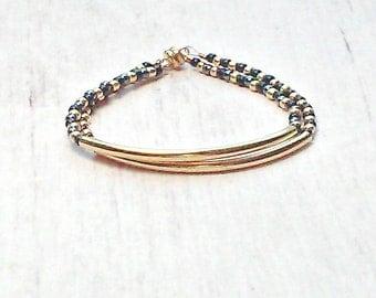 Gold Tube Bracelet - Seed Bead Bracelet - Black Gold Bracelet - Chic Bracelet - Gold Bridesmaids Bracelet - Bridal Party Gifts - Gold Bangle