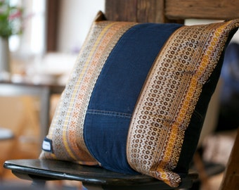 Pillowcase made from a handwoven Balinese textile and recycled jeans - Textile is a special songket textile!