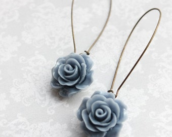 French Blue Rose Earrings Long Dangle Earrings Romantic Bridesmaid Gift Flower Earrings Bridal Acessories Nickel Free Sky Blue Wedding