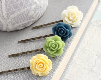 Rose Bobby Pins Ivory Cream Floral Hair Accessories Navy Blue Rose Hair Clip Yellow Rose Bobbies Fresh Green Flowers for Hair Garden Wedding