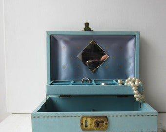 Vintage Mid Century Blue & Aqua Jewelry Box with Mirror