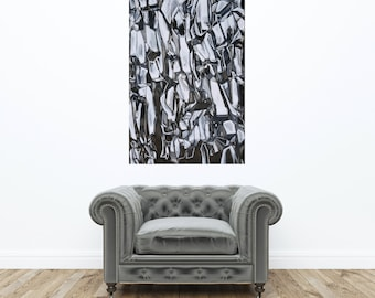 Large Abstract ORIGINAL Painting, Black Painting, Black Line Painting, Abstract Ink Painting, Black Painting, Black and White Abstract 26x38