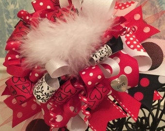 Red Hearts Over The Top Bow - Valentine's Bow