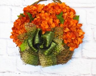 Hydrangea Wreath, Door Basket, Wall Basket, Orange Hydrangeas, Summer Wreath, Fall Wreath, Rustic Decor, Fall Decor