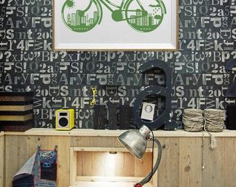 Bike Bicycle Art Print , Green City Recycle Wall Art , Typography Bike Art , Large Wall Art Boy Kid's Room Office Wall Art Men Bike Art