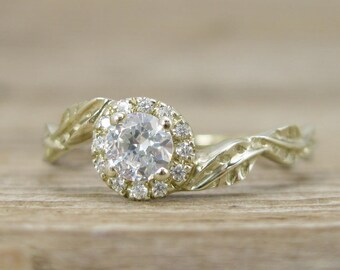 Diamond Halo Leaves Engagement Ring, Gold Halo Engagement Ring, Diamond Leaf Engagement Ring, Antique Yellow Gold Leaf Engagement Ring