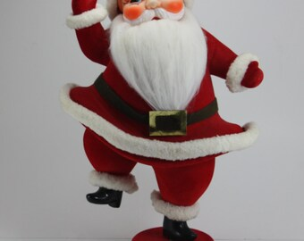 "Vintage Santa Claus Santa Kris Kringle Red Flocked Dancing Figurine Large 16"" Japan Christmas Decor Ornament Holiday Decor Mid Century"