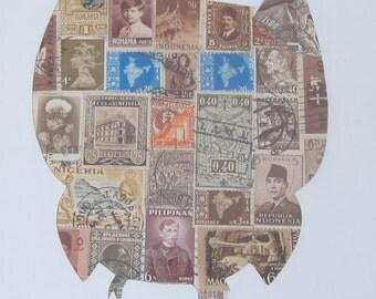 Postage Stamp Art - Owl - Used Postage Stamps - Framed Postage Stamp Art - Wall Art - barn owl,