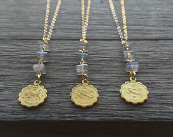 Zodiac & Labradorite Necklaces | Astrology Necklaces | Labradorite Necklace