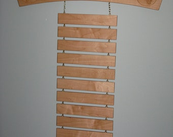 Solid Maple Arch Style Martial Arts Rank Belt Display Rack with Shelf for Trophies, hold 12 belts but can add or subtract any number