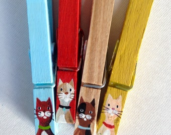 CAT CLOTHESPINS hand painted yellow blue red wooden magnets