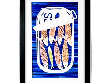 Sardine Can Collage - Funny Original Fish Wall Art