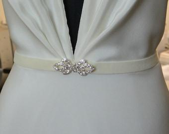 Wedding Belt, Bridal Belt, Velvet Rhinestone, LOVEBIRDS BELT, Narrow Wedding Sash, Ivory, White, Black, Grey