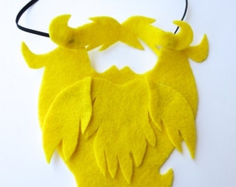 Yellow Blonde Beard / Felt Play Props for Kids / Funny Facial Hair Accessory