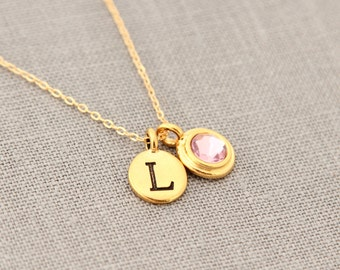 Personalized Gold Necklace, Initial Necklace, Gold June Birthstone Necklace, Gold Alexandrite Jewelry
