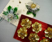 Vintage Christmas Package Decorations Tinsel Flowers Lacquered Holly Leaves Mercury Glass Silver Gold Foil Tie Ons from Japan Lot of 8