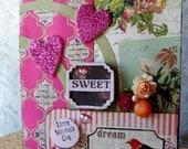 Sweet Valentines Day Card, Handmade Valentine Card, Shabby Boho Valentines Day card, Sweet Valentine card