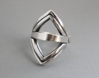 Triangles/Kite ring Sterling Silver Geometric Modern Open Design One of a Kind