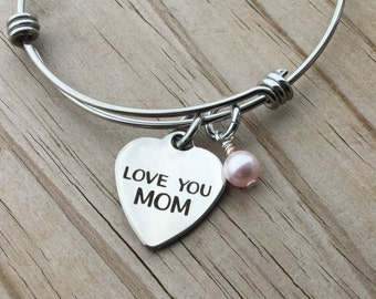 "Mother's Charm Bracelet- ""LOVE YOU MOM"" laser etched charm with an accent bead in your choice of colors"