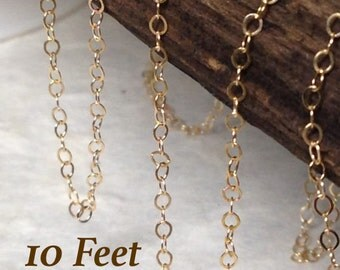 Gold Necklace Cable Chain - BULK  10 Feet - 14kt Gold Filled Flat Cable Chain  2 x 1.5  CH14-10