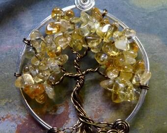 Citrine Tree of Life Pendant- Wire Wrapped Citrine Gemstone Pendant Necklace- November Birthstone - Birthday Gift