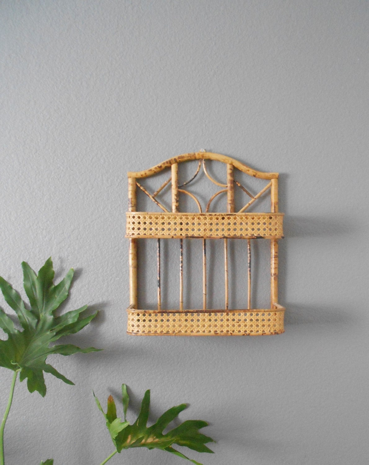Vintage Mid Century Bohemian Two Tiered Bamboo Rattan Wall