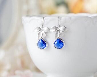 Cobalt Blue Earrings, Silver Orchid Flower Dangle Earrings, Sapphire Drop Earrings, Cobalt Wedding Bridesmaid Earrings, Bridal Party Gift